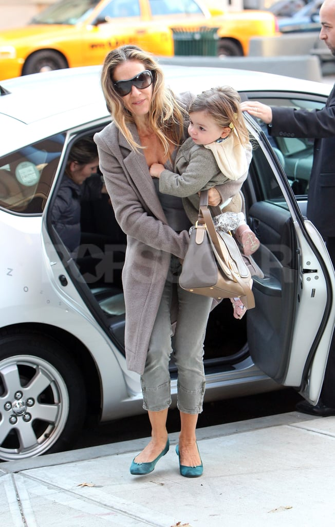 Tabitha Broderick's feet never touched the sidewalk with the help of mom Sarah Jessica Parker.