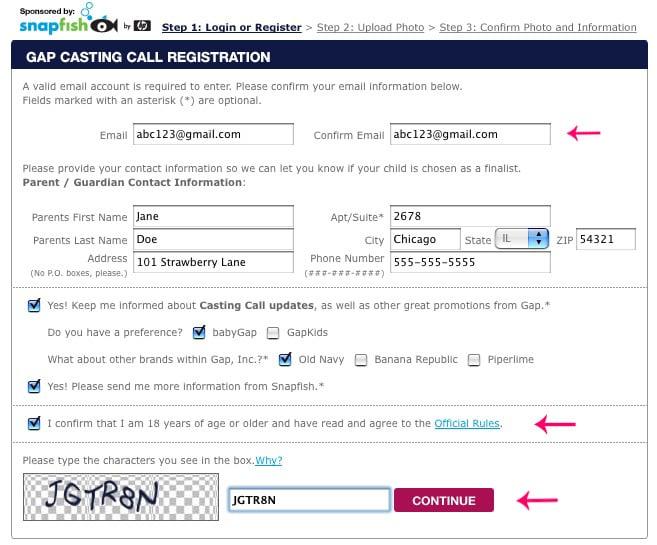 Step Two: Registration Form