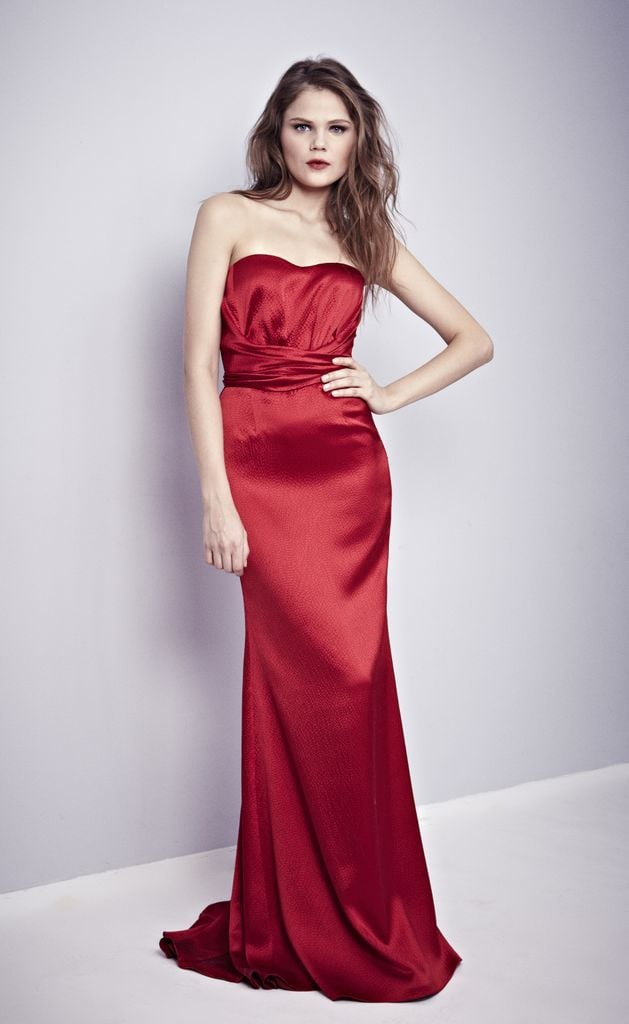 Everything about this Misha Nonoo gown is classic — the rich red hue, the strapless neckline — but there's still something so fresh about it.