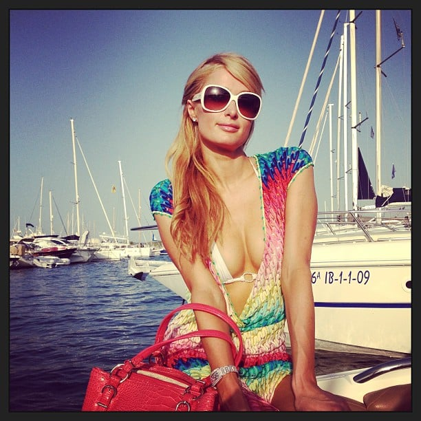 Paris Hilton enjoyed a sunny day on a yacht in Ibiza, Spain. Source: Instagram user parishilton