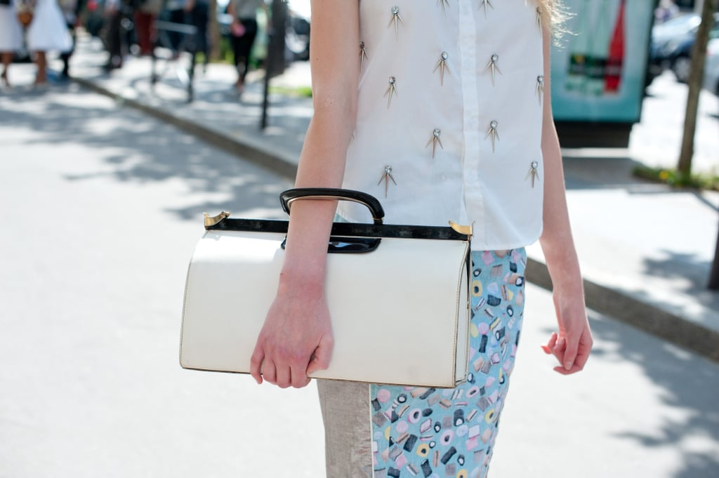This sleek satchel made for the most ladylike of clutches.