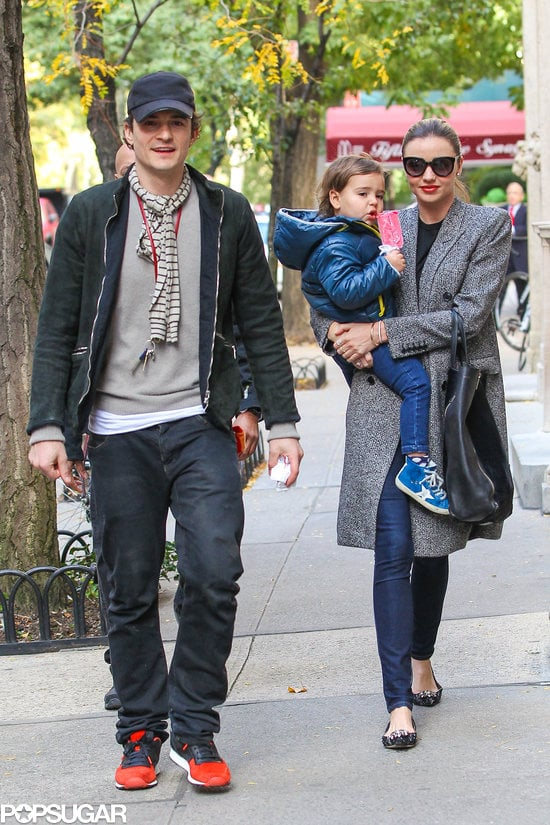 Miranda Kerr and Orlando Bloom showed a united front when they took their son, Flynn, on a walk in New York on Saturday morning, following Friday's announcement that they've separated after three years of marriage.