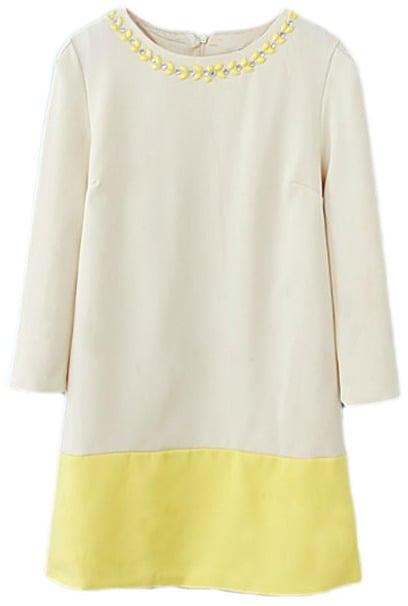 Romwe Colorblock Diamante Long Sleeved Yellow Dress ($40)
