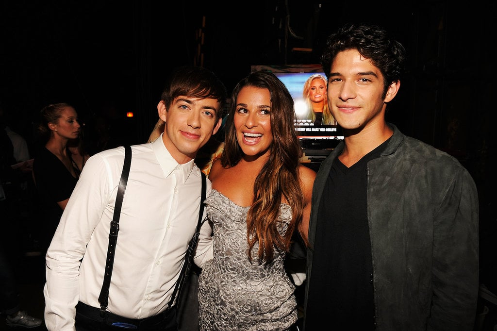 Lea Michele smiled between Kevin McHale and Tyler Posey backstage in 2012.