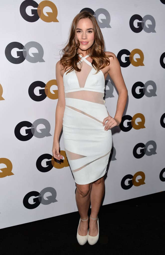 Revenge girl Christa B. Allen donned a sheer white Catherine Malandrino dress with Nicholas Kirkwood pumps.
