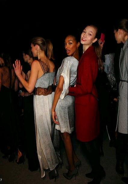 The models stayed tight while in a sea of people.