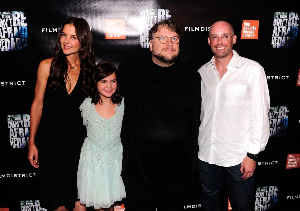 Katie Holmes with Bailee Madison and Guillermo del Toro.