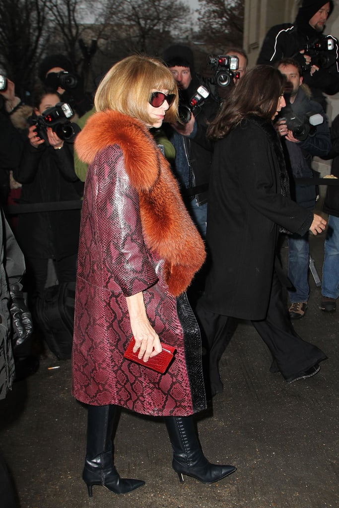 If you thought a fur coat was plush, then Anna Wintour's burgundy snakeskin coat — complete with burnt-orange fur collar — was next-level luxury, as seen upon the editor in chief's arrival at Chanel.
