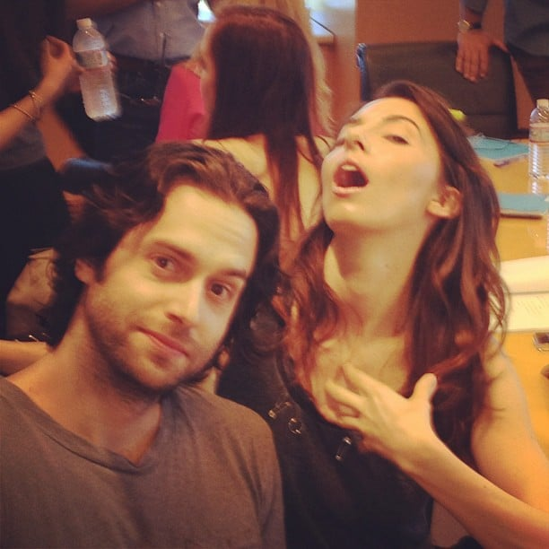 Whitney Cummings and Chris D'Elia goofed around on set. Source: Instagram user therealwhitney