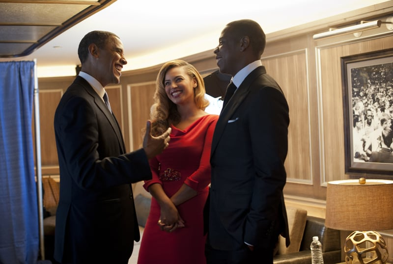 Jay-Z and Beyoncé chatted with President Obama at a fundraiser in NYC.