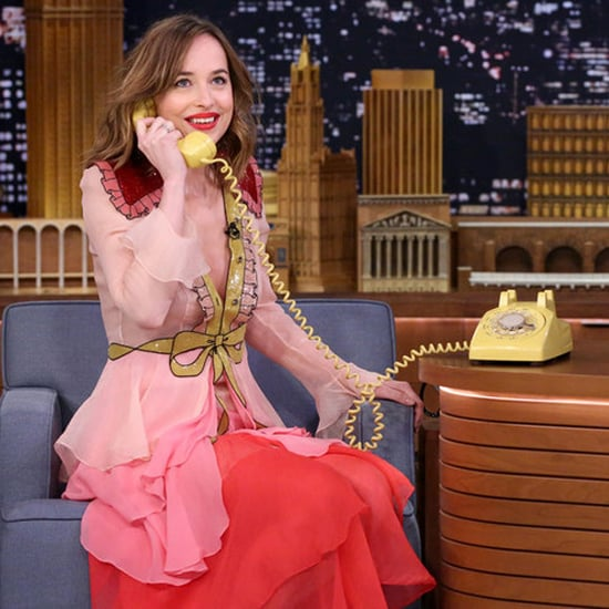 Dakota Johnson Wearing a Gucci Dress on Jimmy Fallon
