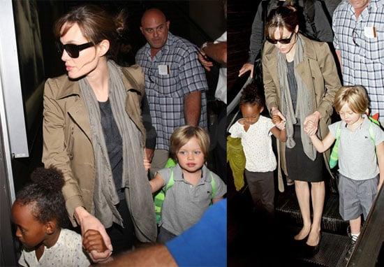 Pictures of Angelina Jolie, Shiloh Jolie-Pitt and Zahara Jolie-Pitt at LAX