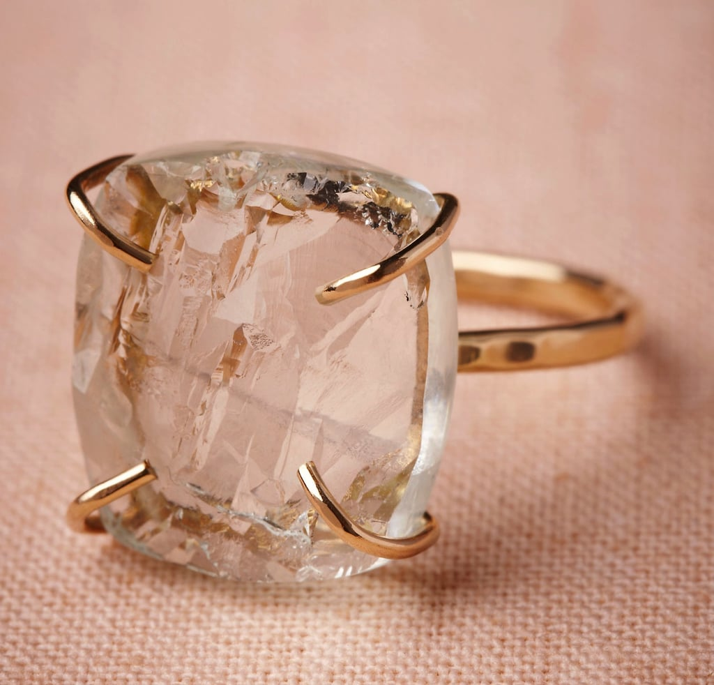 """Without bordering too much on the cocktail side of things, we're currently loving this Melissa Joy Manning for BHLDN Slice of Sky ring ($915), which, if you look closely, is actually set with aquamarine stone. You know what that means? This also qualifies as your """"something blue."""""""