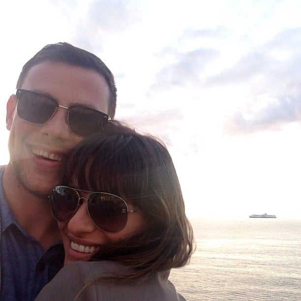 """Lea shared this touching snap of her and Cory Monteith after his death in July 2013, thanking her fans for their """"enormous love and support,"""" adding, """"Cory will forever be in my heart."""" Source: Instagram user msleamichele"""
