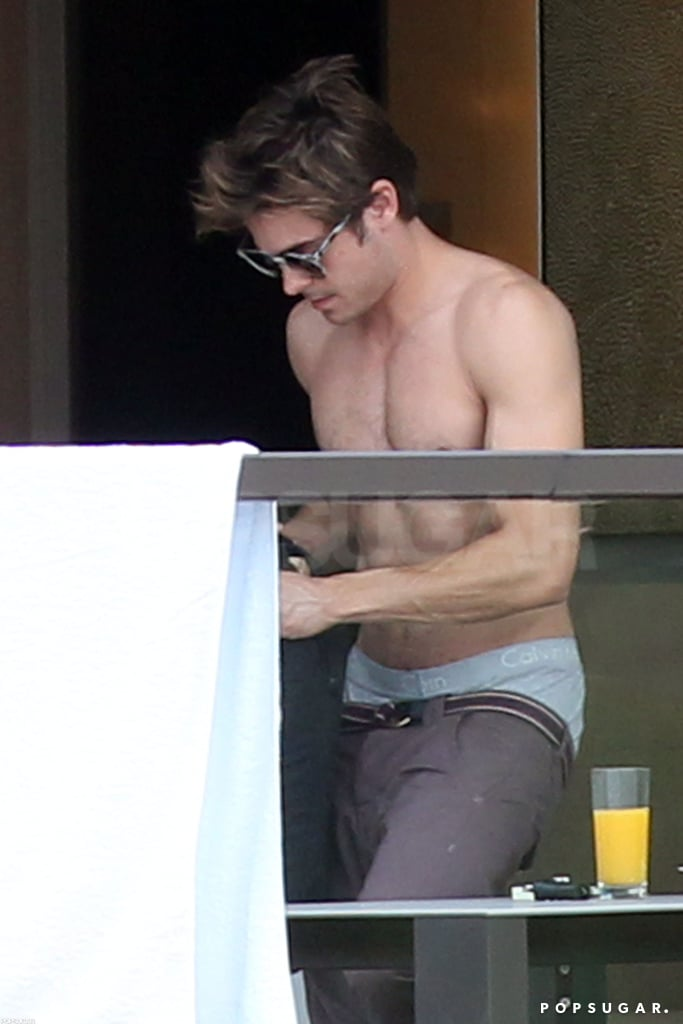 He was shirtless at his Sydney hotel in April 2012.