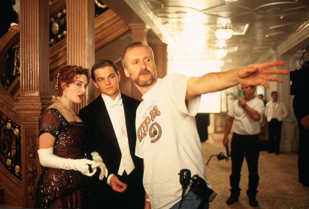 Director James Cameron, Leonardo DiCaprio, and Kate Winslet in Titanic.
