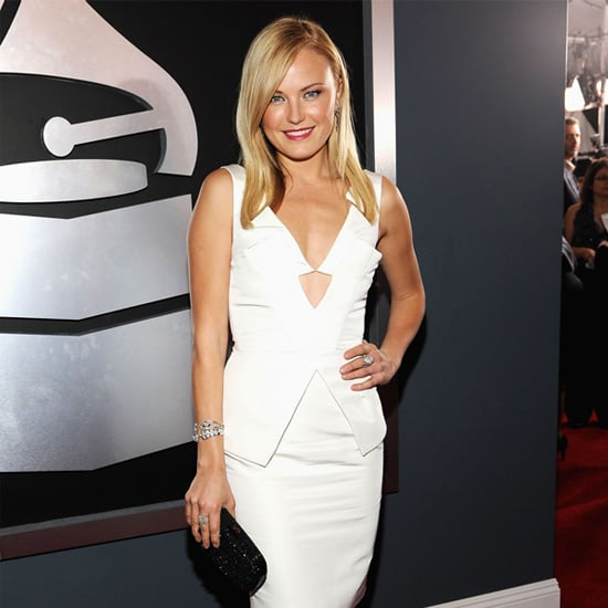 Celebrities in White Dresses and Black Shoes