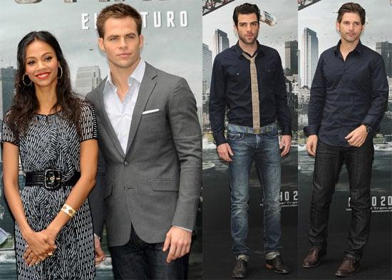 Photos of Chris Pine, Zachary Quinto, Eric Bana, Zoe Saldana at a Photo Call For Star Trek in Spain