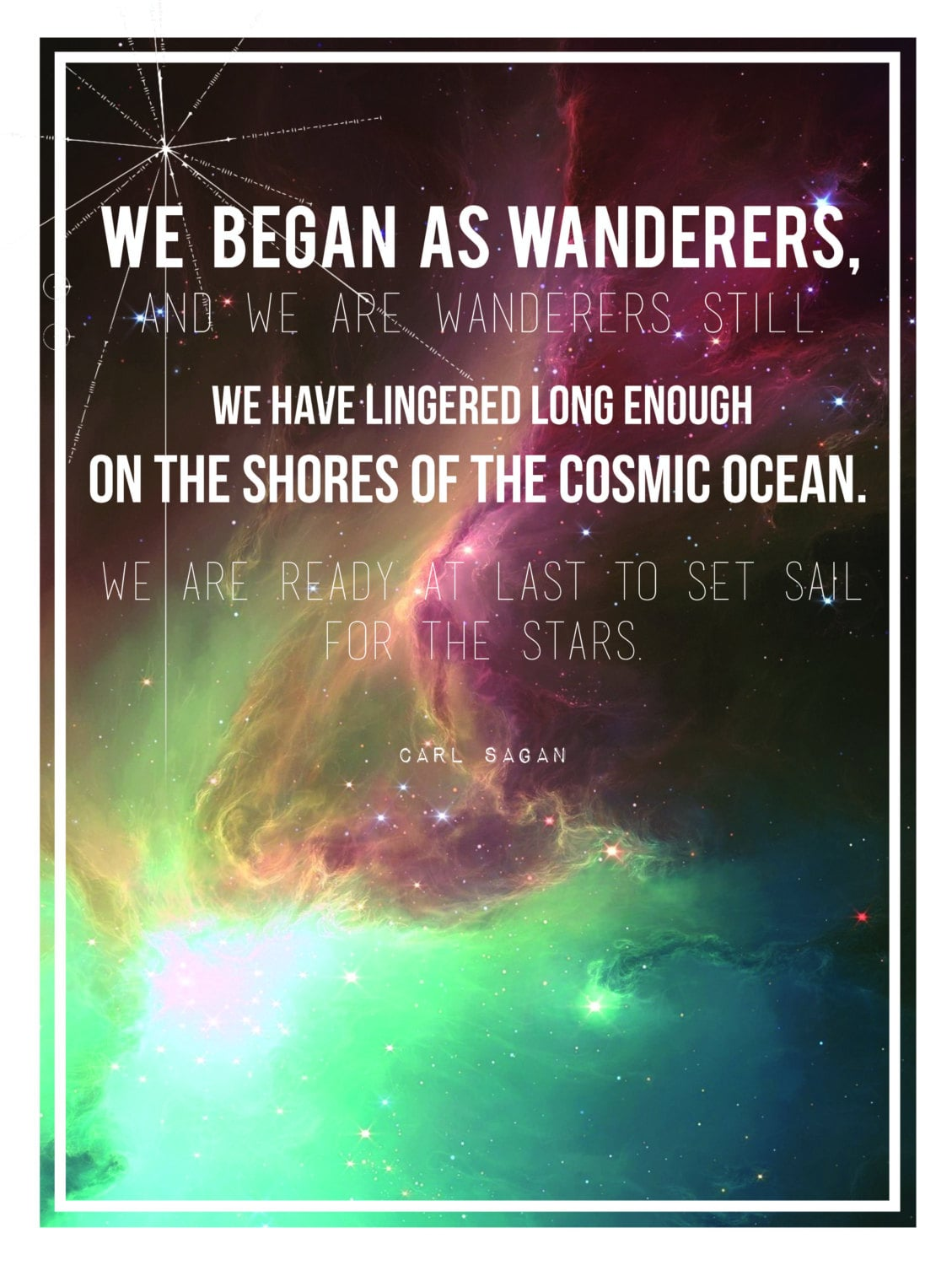 """""""We began as wanderers, and we are wanderers still. We have lingered long enough on the shores of the cosmic ocean. We are ready at last to set sail for the stars."""" The longer version of Carl's """"wanders quote"""" is set against a galactic background in this poster by Etsy user Sea and Silva."""