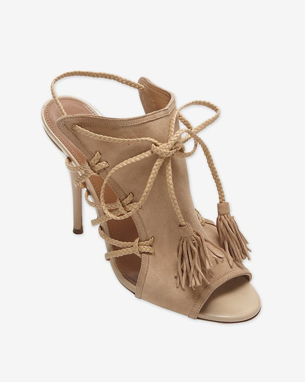 Aquazzura Tan Suede Braided Rope High Heel Sandals ($625)