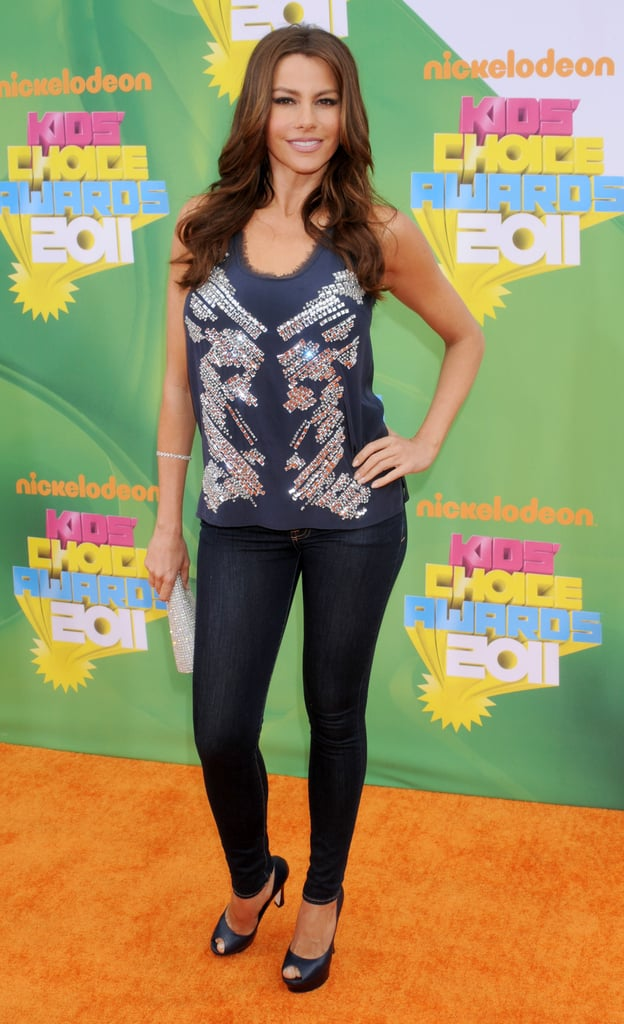 Sofía Vergara styled an embellished tank top with dark skinny jeans in 2011.