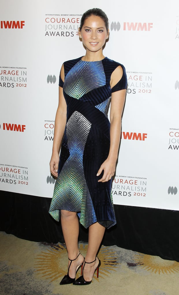 Olivia Munn wore this kaleidoscope-print Peter Pilotto dress on the red carpet in October 2012.