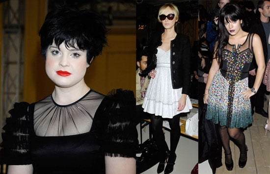 Lily Allen, Kelly Osbourne and Kim Stewart at Luella Bartley during London Fashion Week