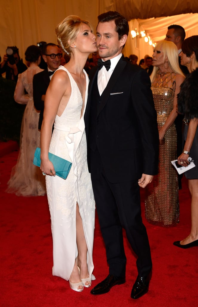 Claire Danes gave Hugh Dancy a kiss on the cheek at the Met Gala in NYC.