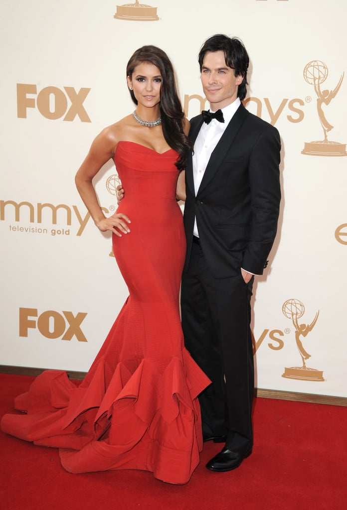 Ian Somerhalder Nina Dobrev posed together on their way into the 2011 Emmy Awards.