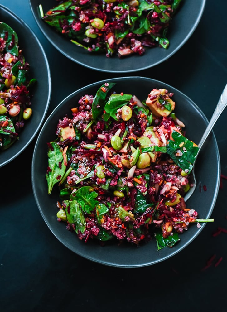 Raw Beet Salad With Quinoa, Carrots, Edamame, and Spinach