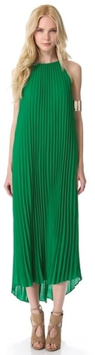Line & dot Pleated Maxi Dress