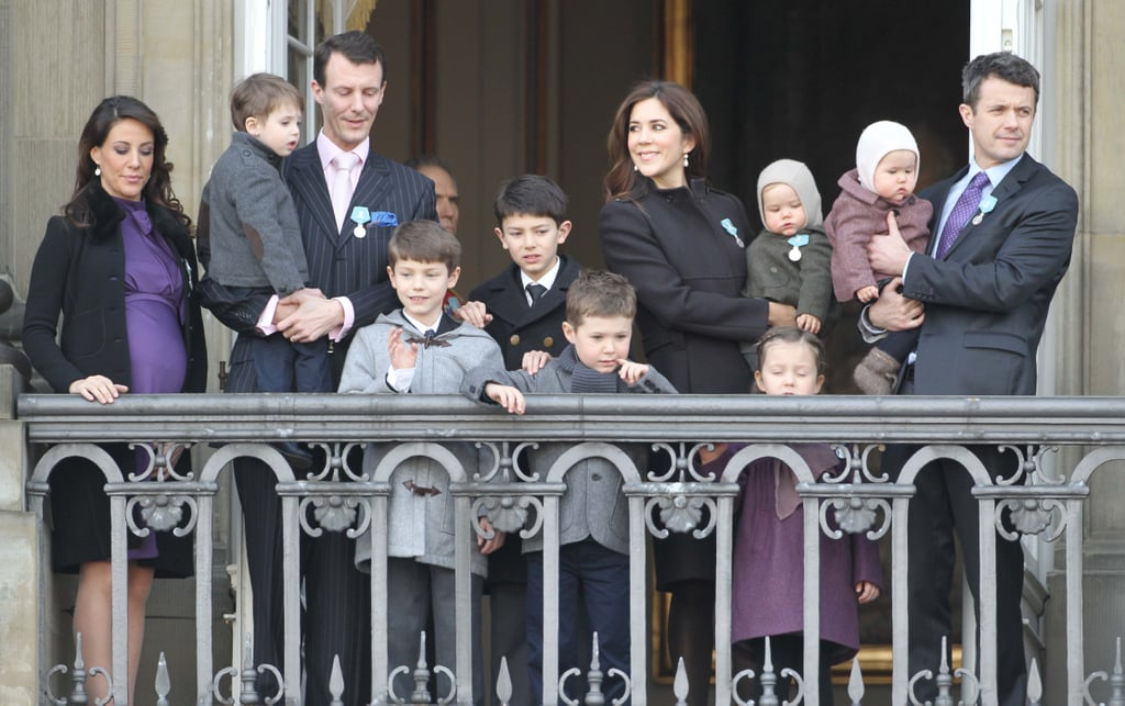 Princess Mary, Prince Joachim, Crown Princess Mary, Crown Prince Frederik and all their children gathered on the balcony of Amalienborg Royal Palace to celebrate Queen Margrethe II's 40th anniversary on the throne.