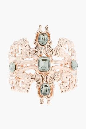 TOM BINNS Rose Gold and black crystal Roccoco Dumont cuffs