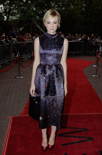 Carey in a galactic chic Christopher Kane — out of this world.