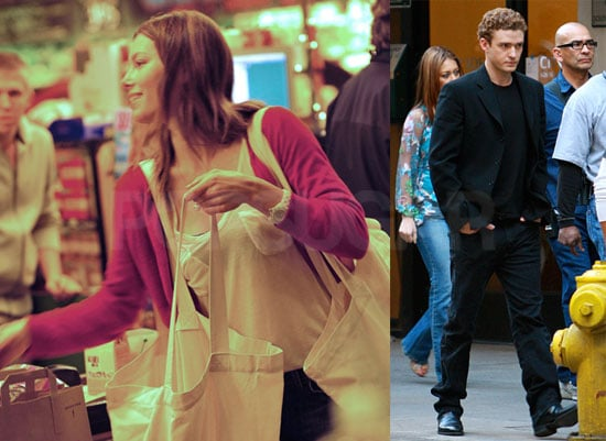 Photos of Justin Timberlake on the Set of the Social Network and Jessica Biel Grocery Shopping