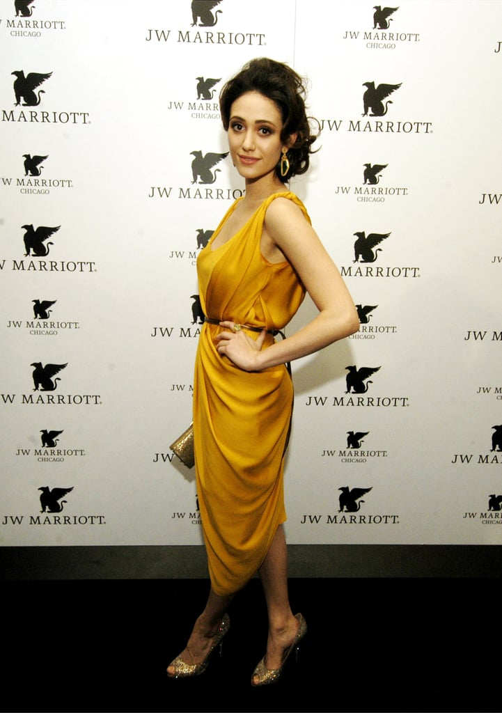 Emmy Rossum stunned in a draped, yellow-gold dress — we just can't get over the elegance, gorgeous!