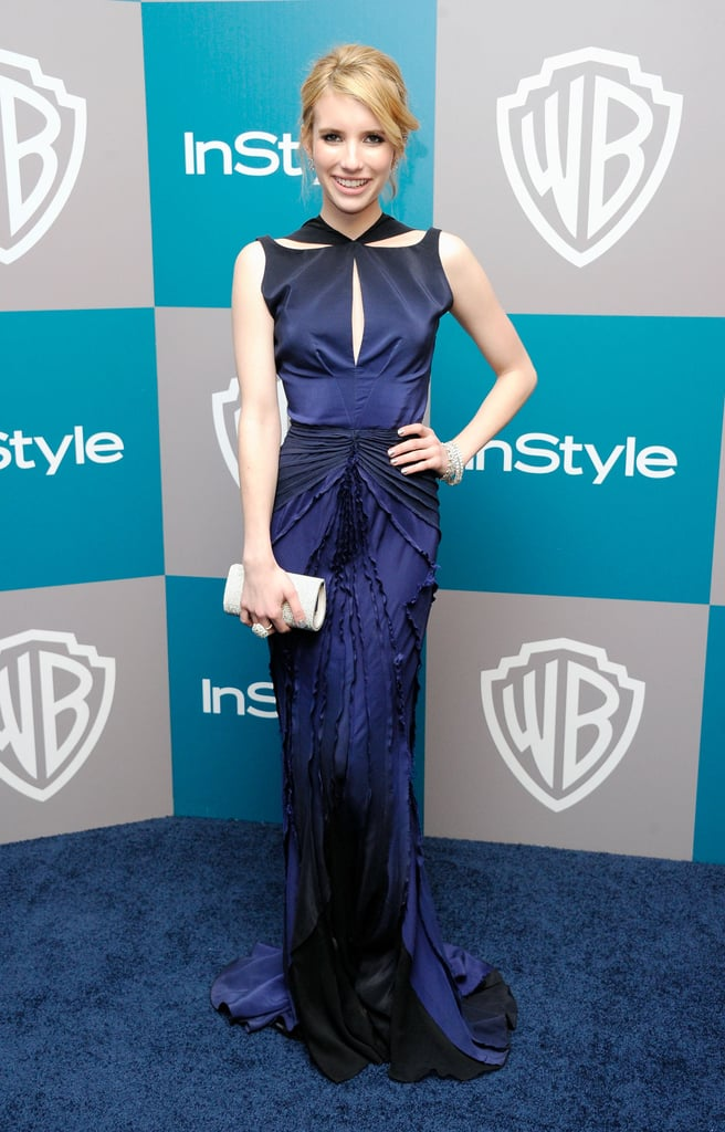 Emma Roberts wore a cutout dress to InStyle's Golden Globes afterparty.
