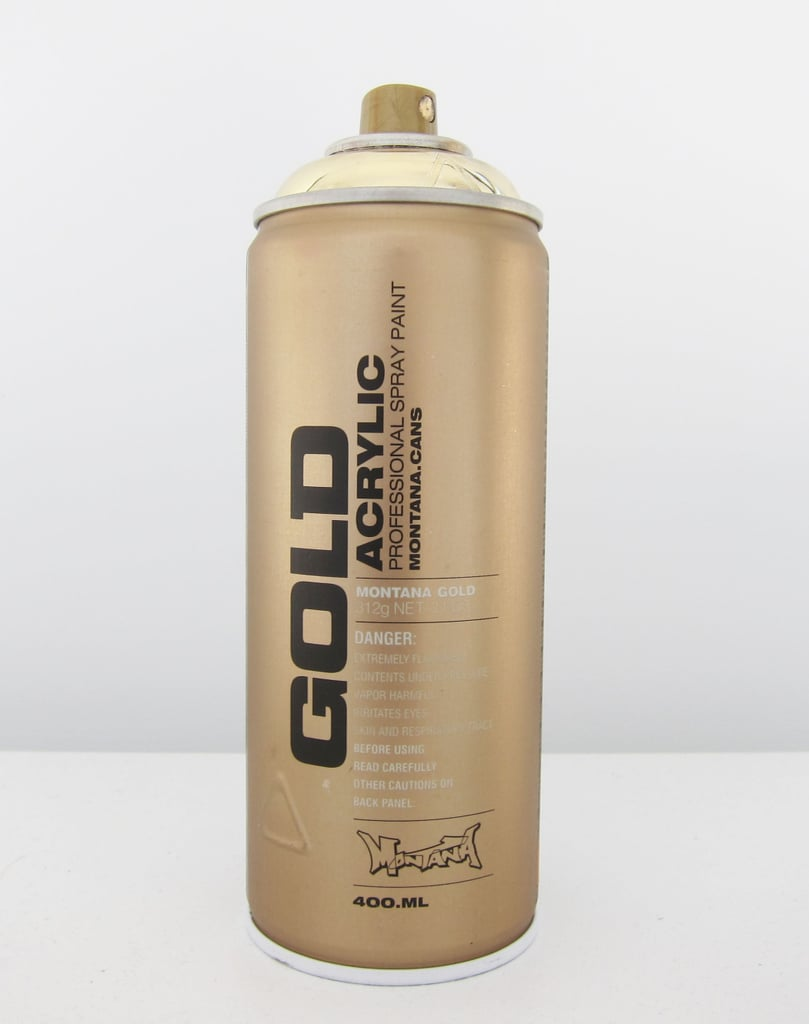 We opted for a gold acrylic spray paint with a high gloss finish.
