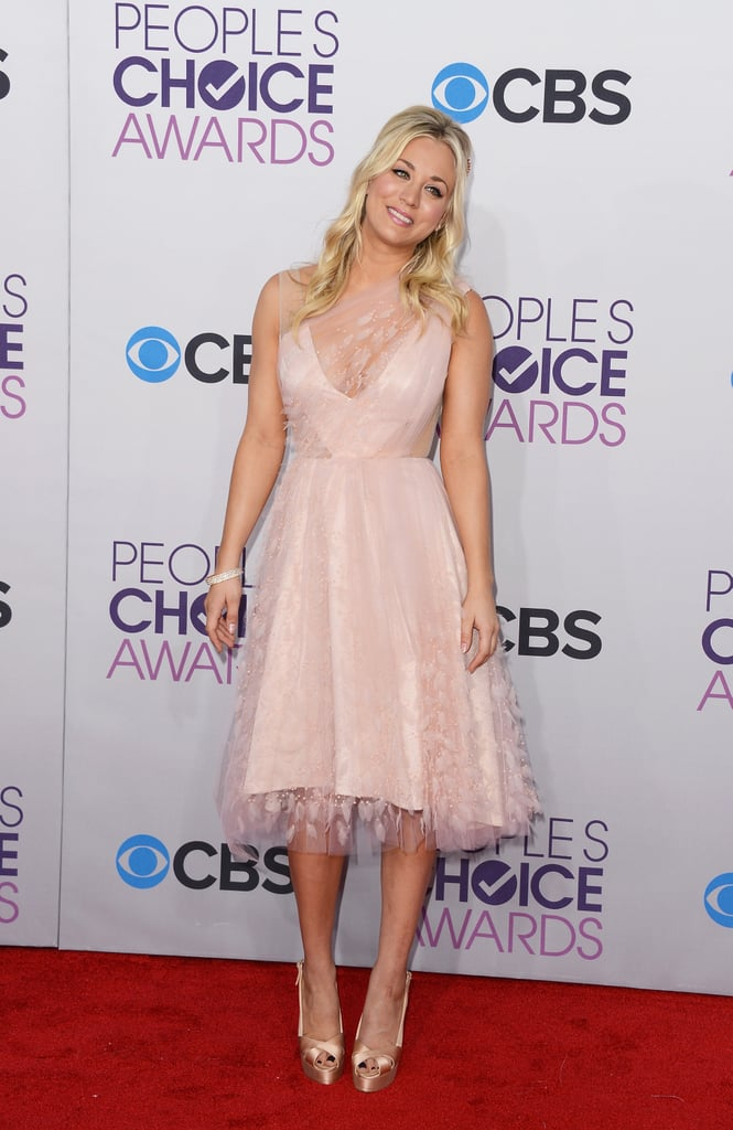 Kaley Cuoco wore a pink Christian Siriano dress on the red carpet.