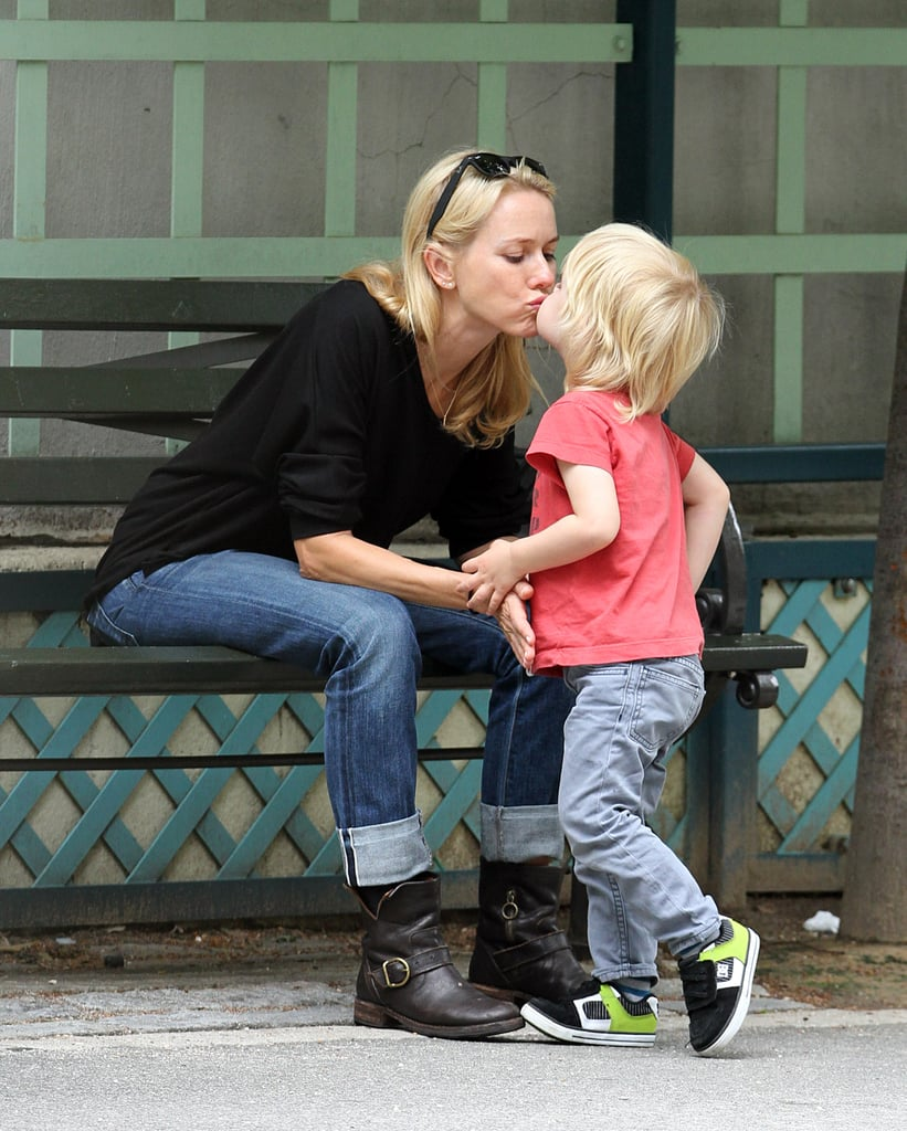 Naomi gets a kiss from younger son Sammy.