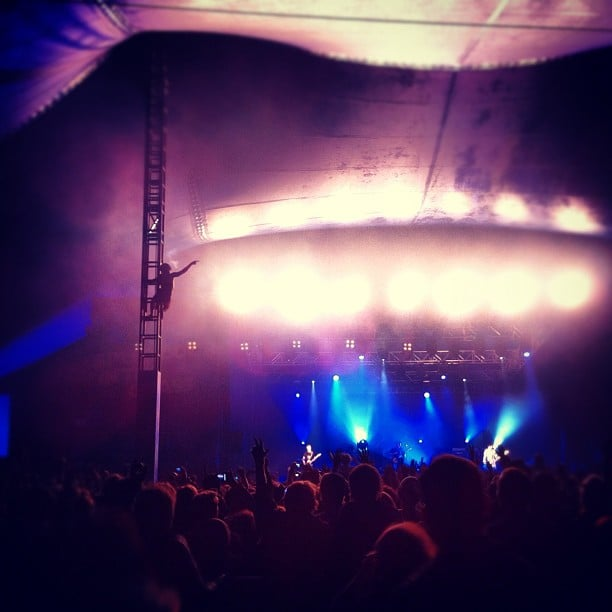 Someone climbed the rigging during Bloc Party's set. Source: Instagram user kylights