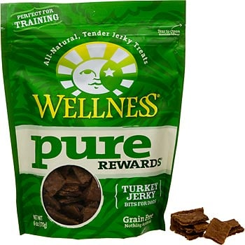 These Wellness Pure Rewards Turkey Jerky treats ($9) are moist, all-natural, and a tasty way to train a dog.