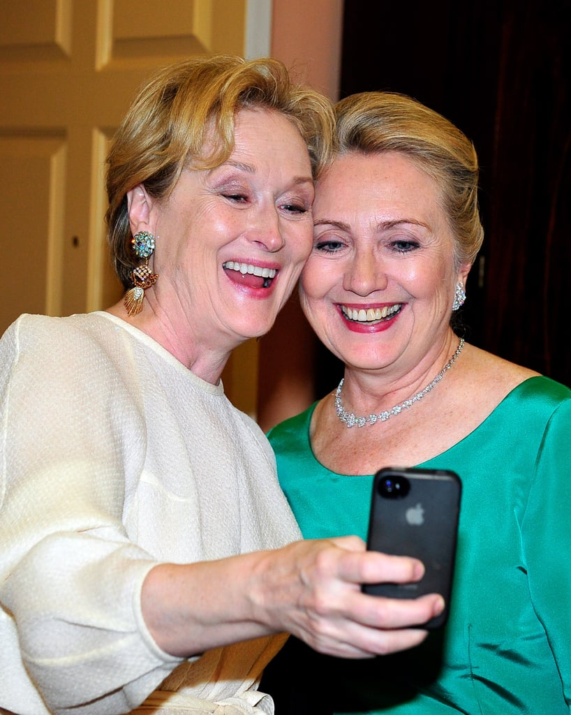 It's Meryl Steep and Hillary Clinton! The queen of Hollywood and the most powerful woman in Washington united for a smiley selfie at the Kennedy Center Honors in December 2012. Meryl donated her image to a charity. For $200, you can have a copy of the iconic selfie and contribute to Shutter to Think's education efforts.