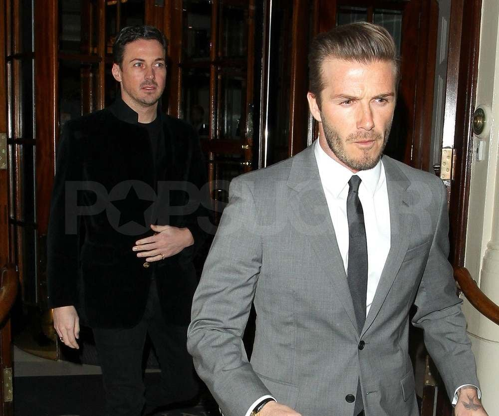 David Beckham out in London.