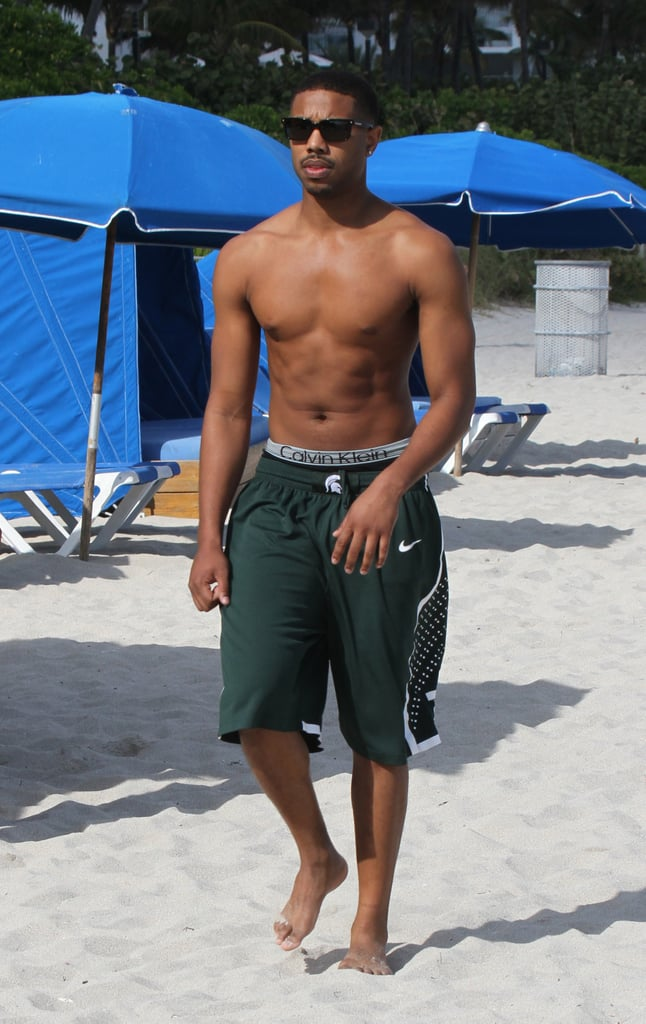Michael B. Jordan enjoyed some beach time at Miami Beach in January 2014.