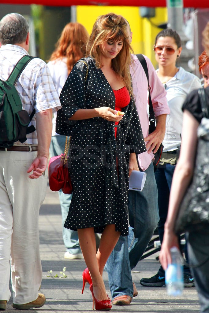 Penelope Cruz's purse and shoes matched her red lingerie.