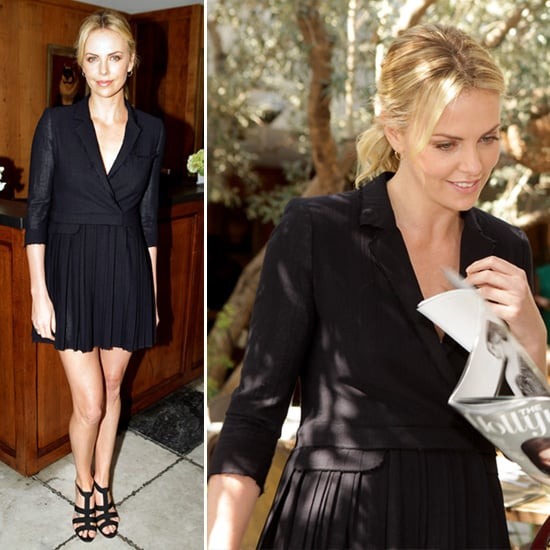 Charlize Theron Black Coat Dress