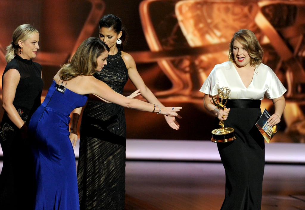 Tina Fey wanted to make sure Merritt Wever was good to go as she handed over the award.