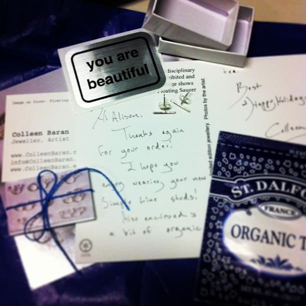 A delivery from Etsy was made even better by this lovely care package. Cute!