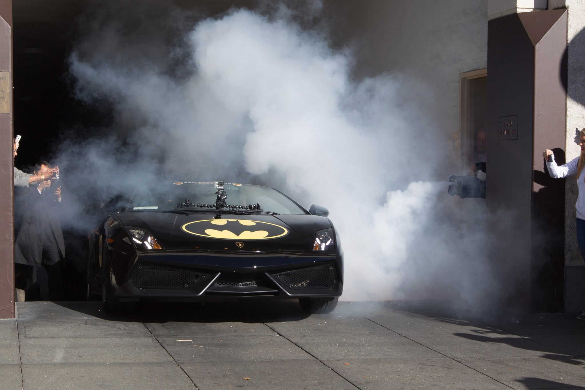 Batkid started his day out in a Lamborghini that was transformed into the Batmobile.